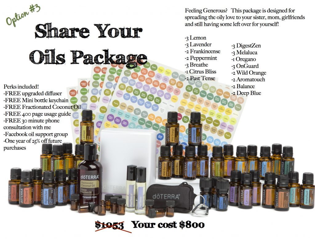 Share Your Oils Package: Designed for spreading the oily love to your sister, mom, girlfriends and still have some for you. Lemon, Lavender, Frankincense, Peppermint, Breathe, Citrus Bliss, Past Tense, DigestZen, Melaluca, Oregano, OnGuard, Wild Orange, Aromatouch, Balance, Deep Blue