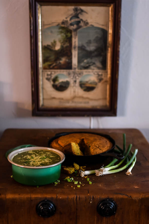 Roasted Poblano Pepper Soup with Einkorn Cornbread