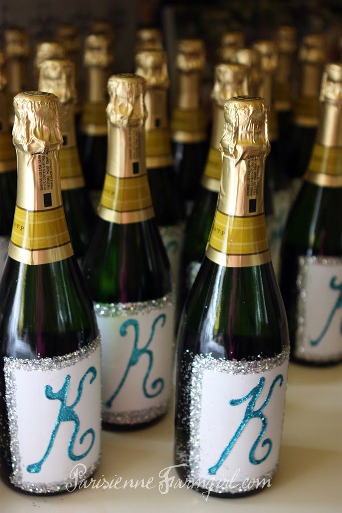 Customised champagne bottles